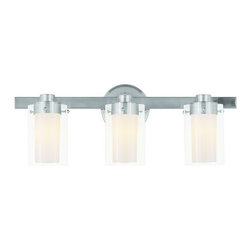 "Livex Lighting - Livex Lighting 1543 3 Light 180 Watt 22.5"" Wide Bathroom Fixture with Clear Glas - 3 Light 180 Watt 22.5"" Wide Bathroom Fixture with Clear Glass from the Manhattan CollectionFrom the Manhattan Collection, this three light combined with clear outside glass and opal inside glass will provide ample lighting to a bathroom setting.Features:"