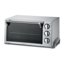 DeLonghi - Stainless Steel Convection Oven - DeLonghi's EO1270 1400W 0.5 Cu. Ft. Stainless Steel Convection Toaster Oven is attractively designed to complement any kitchen décor. The interior is large enough to cook a 12-inch pizza, bake an entrée or heat a side dish. Make a meal for the whole family right on your countertop. The large 6-slice toast capacity lets you make toast, bagels or english muffins. Plus the toast color selector with automatic shut-off allows you to choose settings from light to dark for toast just the way you like it.1400-watt 0.5 cubic feet convection toaster oven|Attractive stainless steel design complements any kitchen decor|Multiple cooking functions: bake, bake with convection, defrost, broil, toast, slow bake, or keep warm|Convection cooking is 20%-50% faster for a perfectly browned outside and a moist, juicy inside|Durastone II enamel interior distributes heat evenly for maximum consistent cooking results|Durastone II enamel interior is easy to clean - just wipe with damp sponge|Easy-to-use controls to control cooking program and temperature|Large enough to cook entire 12-inch pizza, bake an entree or heat a side dish|Large 6-slice toast capacity and toast color selector|Convenient timer with automatic shut-off and ready bell for toast|  delonghi| eo1270| convection| toaster| oven| 1400w| 1400-watt| 1400-watts| 1400| w| watt| watts| 0.5| .5| cu| ft| cubic| feet| durastone| II| enamel|  Package Contents: convection toaster oven|bake pan with broil rack|1 pizza-shaped wire rack|1 reversible wire rack|manual|warranty  This item cannot be shipped to APO/FPO addresses