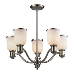 Traditional Satin Nickel White Glass Chandelier Brooksdale