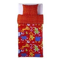 BARNSLIG DJUR Duvet cover and pillowcase(s) - Duvet cover and pillowcase(s), red