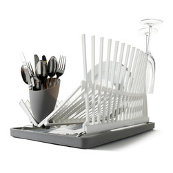 Black + Blum - High & Dry Dish Drainer, White - Elevate your everyday with beautifully designed necessities — this architecturally inspired dish rack being a case in point. It's as functional as it is attractive, with spikes that hold your most delicate glassware securely upright and a truly ingenious draining tray.