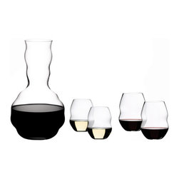 "Riedel - Riedel Swirl Red Wine Glasses and Decanter Set of 5 - The Swirl collection embraces the same care-free, relaxed attitude as Riedel's ""O� series which pioneered the casual wine glass category when they were introduced in 2004. Wine-friendly with everyday appeal, Named for the ease with which it allows you to swirl your wine, the Swirl collection offers a rippled shape with subtle grooves that help guide the wine around and around the vessel. This gift pack includes 4 Swirl red wine glasses plus a free gift of a Swirl decanter."