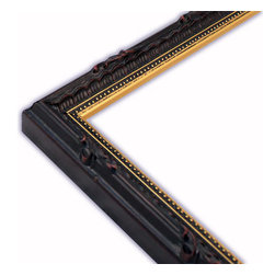 The Frame Guys - Narrow Ornate Black with Gold Lip Picture Frame-Solid Wood, 12x16 - *Narrow Ornate Black with Gold Lip Picture Frame-Solid Wood, 12x16