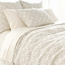 Pine Cone Hill - PCH Veena Gray Duvet Cover - Inspired by an artistic block print, the Veena duvet cover lends a touch of global glamour. Its geometric floral pattern boasts the chic yet casual style in ash gray and white. Available in twin, full/queen and king; 100% cotton; Button closure; Designed by Pine Cone Hill, an Annie Selke company; Machine wash