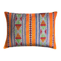 Moroccan Pillow - Handwoven pillow by the Zemmour tribe in the Middle Atlas mountains of Morocco. Pillow has an elaborate diamond and X-pattern.