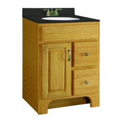 "DHI-Corp - Richland Nutmeg Oak Vanity Cabinet with 1-Door and 2-Drawers, 24"" by 33.5"" - The Design House 541128 Richland Nutmeg Oak Vanity Cabinet features a nutmeg oak finish with a water resistant seal. This product has a rustic shabby chic design, meshing modern construction with vintage aesthetics, and has a 1-door, 2-drawer design. With a solid door frame and drawer fronts, this vanity measures 24-inches by 18-inches by 33.5-inches and is built to withstand years of repeated use. With a country living motif, this vanity graces your home with its bright finish and clean lines. This product is CARB compliant, which means it adheres to the toughest production standards in the world for formaldehyde emissions (in wood composite paneling). The Design House 541128 Richland Nutmeg Oak Vanity Cabinet has a 1-year limited warranty that protects against defects in materials and workmanship. Design House offers products in multiple home decor categories including lighting, ceiling fans, hardware and plumbing products. With years of hands-on experience, Design House understands every aspect of the home decor industry, and devotes itself to providing quality products across the home decor spectrum. Providing value to their customers, Design House uses industry leading merchandising solutions and innovative programs. Design House is committed to providing high quality products for your home improvement projects."