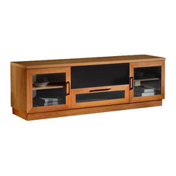 "Furnitech - 70"" Contemporary TV Media Console, Natural Cherry - 70"" Contemporary TV Media Console for Flat Screen and Audio Video Installations."