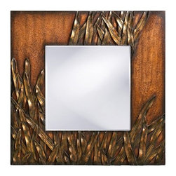 """Howard Elliott - Cameron Wall Mirror - A new entry into our New Traditions family, this hand painted beveled mirror combines Aged Red with Antique Gold highlights for a lush, glamorous look. The mirror measures 36"""" high by 24"""" wide. Features: -Rectangular mirror. -New Traditions collection. -Antique red finish. -Wood/mirror construction. -UL CSA listed. Specifications: -Overall dimensions: 30"""" H x 30"""" W x 1"""" D."""