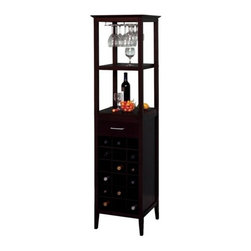 Winsome Trading, INC. - Winsome Wood 92567 Tower Wine Rack - Holds up to 18 bottles of wine and 10 wine glasses on the glass rack
