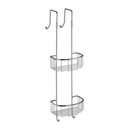 Sideline Collection Hanging Shower Basket - Wide Hook - Polished Chrome - Designed to hang on an open-top glass block wall in your walk-in shower, the innovative design of this shower caddy makes it both a sleek accent and functional addition to your bathroom. Wide hooks allow this caddy to hang securely and keep your bathroom accessories close at hand.