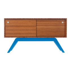 Eastvold Furniture - Elko Credenza Small Bamboo - Eastvold Furniture - Classic with a twist. While inspired by mid-century design, the metal base was born in the new millenium. The sleek base is laser cut and powder coated in one of 6 color options. The box is handcrafted of solid wood with reinforced mitered joints allowing the wood grain to wrap around the entire piece. Behind the smooth sliding doors are adjustable shelves and wire passages that make it a simple and flexible place for all of your media needs, wired and unwired. The Elko Credenza comes in 12 different combinations, making this piece highly customizable for your home, office or studio.