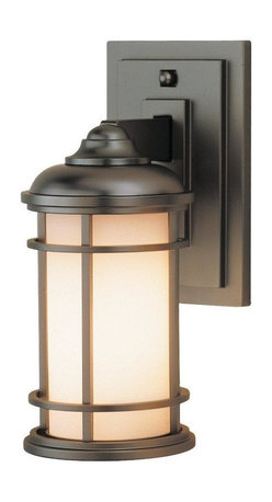 Feiss - Feiss Lighthouse 1-Light Burnished Bronze Opal Etched Glass Wall Lantern - This 1-Light Wall Lantern is part of the Lighthouse Collection and has a Burnished Bronze Finish and Opal Etched Glass. It is Outdoor Capable.