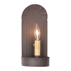 Irvin's Tinware - Fireplace Sconce, Kettle Black - Beautiful in its simplicity, the warm glow of our sconces provide a hearty country welcome to every room in your home, from entryway to family room. A versatile decorating accessory, it is perfect either alone or as part of a wall grouping.