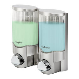 Better Living - Signature II Soap Dispenser by Better Living Products - The most elegant shower dispenser ever. The Better Living Signature Dispenser has a ribbed glass look for a sophisticated taste. This two chambered model includes integrated storage hooks for you to hang razors or other accessories.