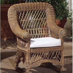 Yesteryear Wicker - Child's Wicker Rocking Chair with Cushion - CHR-B/W- CUSH - Shop for Rocking Toys from Hayneedle.com! Indoor/Sunroom/Covered Porch Rocking Chair The Child's Wicker Rocking Chair is just right for any child to sit and read a book cuddle a stuffed animal or rock a doll. This rocking chair offers exquisite beauty derived from the high-quality and expert craftsmanship of hand-woven Indonesian wicker. The rounded back and softly curved arms give a calm and gentle feeling to any room and will help your child appreciate relaxing moments more deeply.