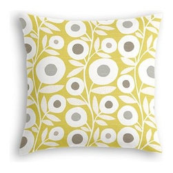 Chartreuse Graphic Flower Print Custom Throw Pillow - The every-style accent pillow: this Simple Throw Pillow works in any space.  Perfectly cut to be extra fluffy, you�۪ll not only love admiring it from afar but snuggling up to it too! We love it in this modern graphic floral print in lime green, gray and white that will put some spring in your decor's step
