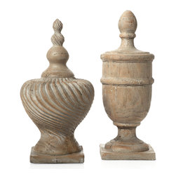 Finial Montecito Canisters - Exclusively available to Z Gallerie customers, our distinctive Montecito finials create a sophisticated decorative display a room. These impressive architectural elements are molded in classic shapes, sized to make a substantial presentation, and are finished with a contemporary sand-washed surface. The shorter finial (left) measures 11.5 inches diameter by 21 inches tall $79.95, and the taller one is 8 inches diameter by 22 inches tall ($89.95).