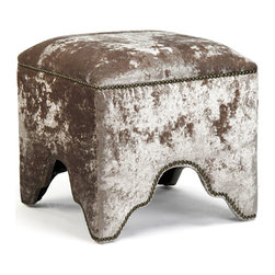 """Hollywood Regency - Few fabrics say """"bohemian"""" like crushed velvet does, and this classic Ottoman foot stool proves it. Detailed in nail head trim, and upholstered in a lush mink tone, this global bazaar beauty delivers a sensual, earthy effect to bedrooms and living rooms alike."""