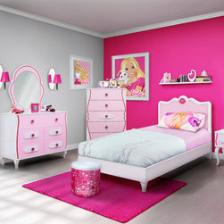 Kids Furniture - The center of the Barbie universe is your bedroom when you decorate with the Barbie Bedroom in a Box. The set comes with a bed with an upholstered headboard, a dresser, a nightstand, and a matching wall mirror. All of the pieces are stylishly pink and white with delightful details such as the scalloped wood detail and fanciful drawer pulls. The Barbie Bedroom in a Box will be the delight of any girl.