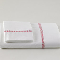Traditions Linens - Mini Pink Check Trim Sheet Set - Mini Pink Check Trim Sheet Set