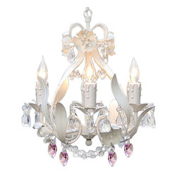 Gallery - Gallery B21-326-4 4 Light 1 Tier Wrought Iron Floral Chandelier with Pink Crysta - Features: