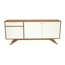 Seed Furniture - The MacArthur Credenza (Gold) - Take a look at our classic credenza, featuring walnut plywood casing, white lacquered doors and drawers, with walnut handle detail.