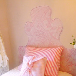 """gLaM-aPeeL Wall Decal Headboards """"Lace on Pink"""" - gLaM-a-PeeL Lace on Pink Wall Decal Headboard...a headboard you stick on the wall!"""