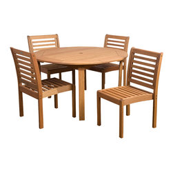 International Home Miami - Amazonia Eucalyptus 5 Piece Armless Round Dining Set - Eucalyptus 5 Piece Armless Round Dining Set belongs to Amazonia Collection by International Home Miami Great Quality, elegant design patio set, made of solid eucalyptus wood. FSC (Forest Stewardship Council) certified. Enjoy your patio with style with these great sets from our Amazonia outdoor collection.  Table (1), Chair (4)