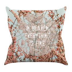 """Kess InHouse - Robin Dickinson """"In Heaven"""" Cherry Blossom Throw Pillow (18"""" x 18"""") - Rest among the art you love. Transform your hang out room into a hip gallery, that's also comfortable. With this pillow you can create an environment that reflects your unique style. It's amazing what a throw pillow can do to complete a room. (Kess InHouse is not responsible for pillow fighting that may occur as the result of creative stimulation)."""