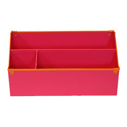 "Design Ideas Frisco Desk Organizer, Pink - The Frisco Collection from Design Ideas adds a happy vibe to desk organizers. Made from colorful paperboard with 100% post-consumer recycled core and contrasting metal trim. 12.2"" X 5"" X 6"""