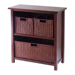 Winsomewood - Milan 4-Piece Cabinet/Shelf with 3 Baskets - Simple design yet function and attractive storage shelf with 3 wired baskets is perfect for your any room in the home. Wood finished in antique walnut color. Two small and one large baskets.