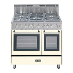 """Verona - VEFSGG365DAW 36"""" Freestanding Double Oven Gas Range with 5 Sealed Burners  2.4 c - 36 Double Oven Gas Range 5 Sealed Gas Burners 24 cu ft Oven Capacity Storage Drawer Electronic Ignition 2 Turbo-Electric Convection Fans"""