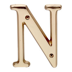 "Renovators Supply - House Numbers Bright Solid Brass 4"" House LetterN - Made of solid brass, these polished die cast letters are made to withstand the elements. Measuring 4 in. high, they are easily seen from the curb. They will update your home's exterior!"