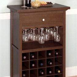 Winsome Wood - Wine Cabinet w Antique Walnut - Accent any spot in the home with this wine storage cabinet. It's a classic beauty that will serve you well for entertaining with serving surface and drawer space. Open glassware racks and space for 20 bottles provide all the conveniences for perfect hosting. Elegantly display your glass stemware atop twenty bottles of your favorite wine in this modern walnut finished wine cabinet. This gorgeous wine cabinet is sure to be a focal point at your next dinner party. * Glass Storage Rack. Stores up to 20 bottles. Drawer for accessories. Rich Antique Walnut finish. H x W x D: 40.38 in. x 26.5 in. x 15.75 in.