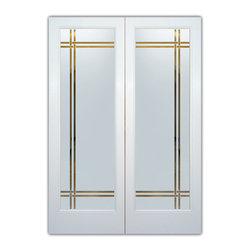 "Interior Glass Doors - Frosted Semi Private BANDS - CUSTOMIZE YOUR INTERIOR GLASS DOOR!  Interior glass doors ship for just $99 to most states, $159 to some East coast regions, custom packed and fully insured with a 1-4 day transit time.  Available any size, as interior door glass insert only or pre-installed in an interior door frame, with 8 wood types available.  ETA will vary 3-8 weeks depending on glass & door type.........Block the view, but brighten the look with a beautiful interior glass door featuring a custom frosted glass design by Sans Soucie!   Select from dozens of sandblast etched obscure glass designs!  Sans Soucie creates their interior glass door designs thru sandblasting the glass in different ways which create not only different levels of privacy, but different levels in price.  Bathroom doors, laundry room doors and glass pantry doors with frosted glass designs by Sans Soucie become the conversation piece of any room.   Choose from the highest quality and largest selection of frosted decorative glass interior doors available anywhere!   The ""same design, done different"" - with no limit to design, there's something for every decor, regardless of style.  Inside our fun, easy to use online Glass and Door Designer at sanssoucie.com, you'll get instant pricing on everything as YOU customize your door and the glass, just the way YOU want it, to compliment and coordinate with your decor.   When you're all finished designing, you can place your order right there online!  Glass and doors ship worldwide, custom packed in-house, fully insured via UPS Freight.   Glass is sandblast frosted or etched and bathroom door designs are available in 3 effects:   Solid frost, 2D surface etched or 3D carved. Visit our site to learn more!"