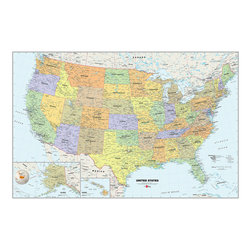 """WallPops - USA Dry-Erase Map Wall Decal - Decorate your walls with a classic look and a functional tool, by adding a Dry-Erase Map of the United States to your home or office. The USA Dry-Erase Map is 24""""w x 36""""h, is completely repositionable, and comes with a free WallPops dry-erase marker."""