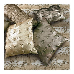 Wildcat Territory - Metallica Ruching Decorative Pillow - These pillows are rock stars! Soft, supple, shimmery faux leather in shades of mica, pewter and starlight have been hand ruched, or tucked to create these extraordinary pillows. Decorative pillows are designed specifically for each collection. Features: -Metallica collection. -Poly fill insert. -Dry clean only. -Made in the USA.