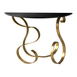 """Cyan Design Ribbon Console Table in Black & Gold Finish - The Cyan Design Ribbon Console Table, with a Black and Gold finish, will add a Transitional style to any home's decor! Composed of Iron and Granite material. Dimensions: 27 1/2"""" High, 14"""" Wide, 35 3/4"""" Long."""