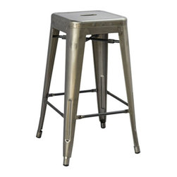 "Office Star - Office Star Bristow 26"" Antique Metal Barstool in Gunmetal (Set of 2)-Set of 4 - Office Star - Bar Stools - BRW3026A4GM - Unique modern metal chair that will get your guests talking for months. Stop playing safe and get ready to wow the crowd. These metal chairs are designed to be make your feel special. Backless design for simplicity and easy storage. Place this chair anywhere in your lovely home to receive instant compliment."