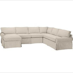 """PB Basic Right 4-Piece Chaise Sectional Slipcover, Brushed Canvas Stone - Designed exclusively for our PB Basic Sectional, these easy-care slipcovers have a casual drape, retain their smooth fit, and remove easily for cleaning. Select """"Living Room"""" in our {{link path='http://potterybarn.icovia.com/icovia.aspx' class='popup' width='900' height='700'}}Room Planner{{/link}} to select a configuration that's ideal for your space. This item can also be customized with your choice of over {{link path='pages/popups/fab_leather_popup.html' class='popup' width='720' height='800'}}80 custom fabrics and colors{{/link}}. For details and pricing on custom fabrics, please call us at 1.800.840.3658 or click Live Help. All slipcover fabrics are hand selected for softness, quality and durability. {{link path='pages/popups/sectionalsheet.html' class='popup' width='720' height='800'}}Left-arm or right-arm configuration{{/link}} is determined by the location of the arm on the love seat as you face the piece. This is a special-order item and ships directly from the manufacturer. To view our order and return policy, click on the Shipping Info tab above."""
