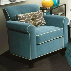 Chelsea Home - Tiffany Accent Chair - Includes toss pillows. Patented seating unit equal to frame within a frame construction. Kiln-dried fortress frame construction. Seating comfort: Medium. Dark trap legs provides extra durability. 0.88 in. hardwood arms are attached. Insulated power fasteners and covered. Heavyweight cardboard to shape curves. No seat cushion is attached. Seat back cushion is attached. Seat cushion is not reversible. Heavy duty sinuous back springs spaced closely together for maximum back support and comfort. Heavier gauge coils around the perimeter of the drop in coil unit for support and balanced seating. Machine tied drop in coil unit. Constructed of pocketed coils to provide support. 2.0 HD high resiliency foam. Sewn in channels for maximum shape retention and support. Made from polyester and solid hardwood. Jukebox blueberry color. Made in USA. No assembly required. Seat height: 20 in.. Seat depth: 21 in.. Seat width: 21 in.. Overall: 36 in. W x 32 in. D x 36 in. H (54 lbs.)