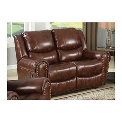 AC Pacific - Sheldon Dual Reclining Loveseat - Upholstered in 100% Polyester, Brown Color.. Brass Nail Head Trim. Seating Comfort: Medium. Seat Cushions attached. Back Cushions attached. Seating has heavy duty no sag springs with high density foam and Dacron fiber for added comfort. Our reinforced frames are built with selected hardwoods, glued and corner blocked for extra durability. All of our reclining mechanisims are built on a heavy duty steel rail system to give you years of trouble free use. . Assembly Required. 63 in. L x 38 in. D x 41 in. H (158 lbs.)This comfortable dual reclining loveseat will turn your living room into a luxurious place to kick back and watch a movie or visit with friends.