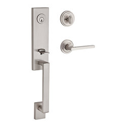 Baldwin Hardware - Baldwin Reserve Seattle Handleset, LH Square Lever, Satin Nickel - Left Handed Lever