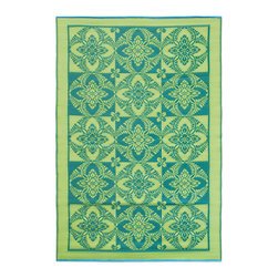KOKO - Primerose Floor Mat, Apple Green, 4' x 6' - You can use this chic propylene floor mat inside or out. It rinses clean with a hose, and is reversible for longer life and added visual interest. A charming addition to the porch, patio or playroom.