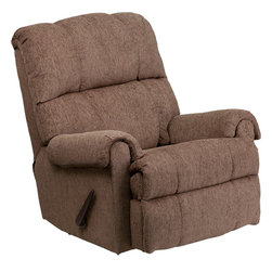 Flash Furniture - Flash Furniture Contemporary Tahoe Bark Chenille Rocker Recliner - This is a great little Rocker recliner, period. It has been built to just the right dimensions for the average sized person, but it gives all the comfort you would expect from an over-stuffed recliner. The Chenille cover, made from a Cotton-Poly-Acrylic blend, is very durable and comfortable. It is simply an outstanding value. [WM-8700-210-GG]