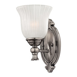 Hinkley Lighting - Francoise Single Sconce - Flowing arches link dazzling Frosted Ribbed glass shades to a grandiose backplate. Comes in Polished Antique Nickel finish. Takes one 100 Watt Medium Bulbs.