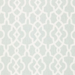 Schumacher - Summer Palace Fret Fabric, Mineral - 2 Yard Minimum Order