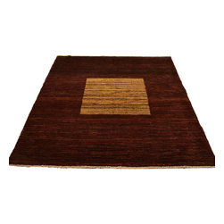 1800-Get-A-Rug - Modern Gabbeh Oriental Rug Gold and Red Hand Knotted Rug Sh12170 - About Modern & Contemporary