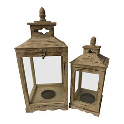 Heather Fields Home & Garden - Set of 2 Shabby White Wooden Lanterns - Set of 2 shabby white wooden lanterns. Tops open to put candle or decorative accent inside. Perfect to decorate each of the seasons inside. Large:9.5x9.5x22H Small: 7x7x17H