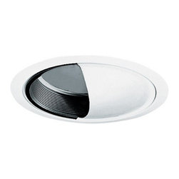 Juno Lighting Group - Scoop Wall Wash for 6-Inch Recessed Housing - 261B-WH - This scoop wall wash trim features a black baffle interior and white exterior. Utilize it where indirect lighting is preferred. It measures 7-5/8 inches wide. Takes (1) 40-watt incandescent A19 bulb(s). Bulb(s) sold separately. Dry location rated.